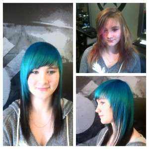 Plan B Kelowna Hair Salon vibrant teal hair color