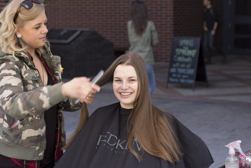 Kelowna Hair Salon - Plan B supports cuts for a cure - long hair before cut
