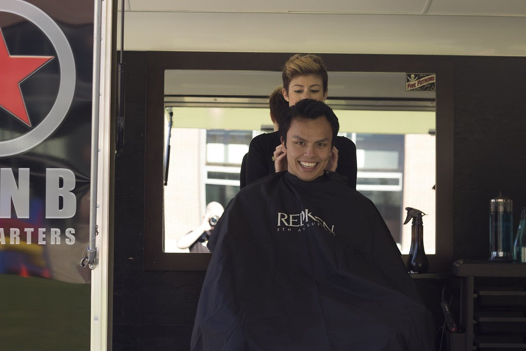 Kelowna Hair Salon - Plan B supports cuts for a cure - getting ready to shave
