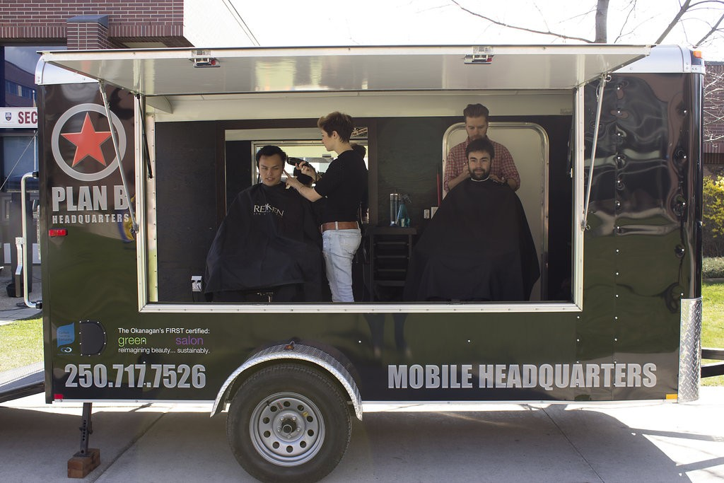 Kelowna Hair Salon - Plan B supports cuts for a cure - Mobile hair studio in action