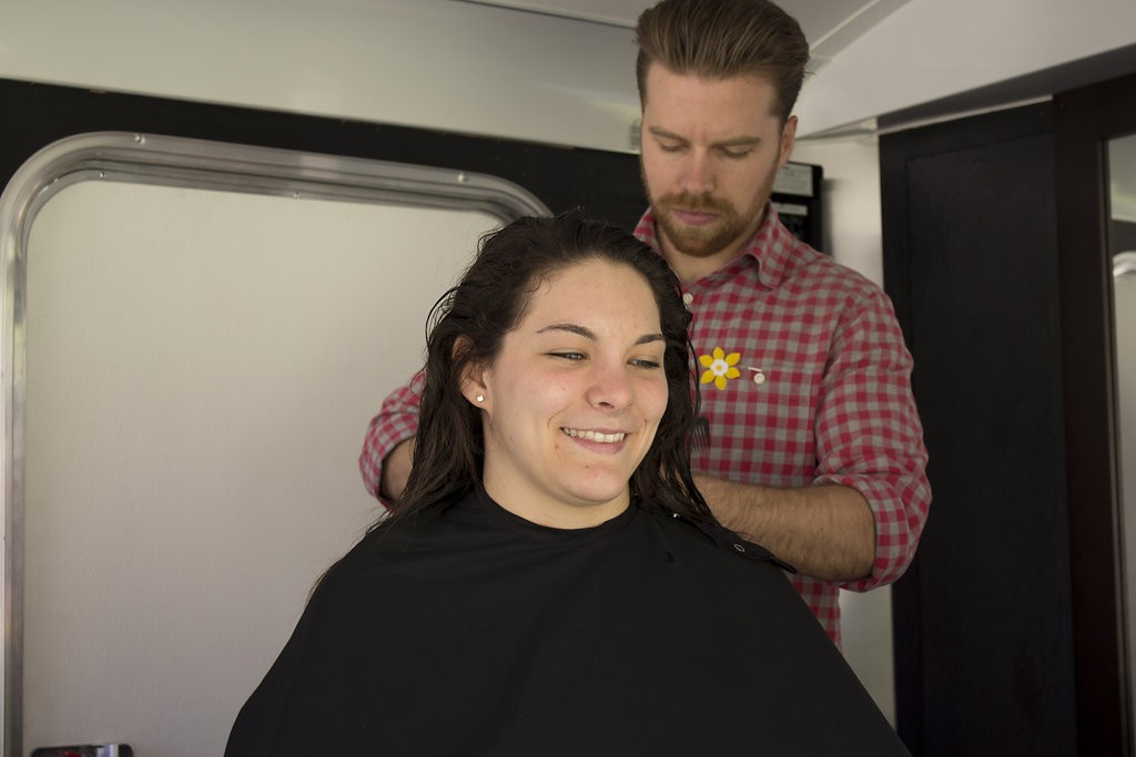 Kelowna Hair Salon - Plan B supports cuts for a cure - smiling event participant