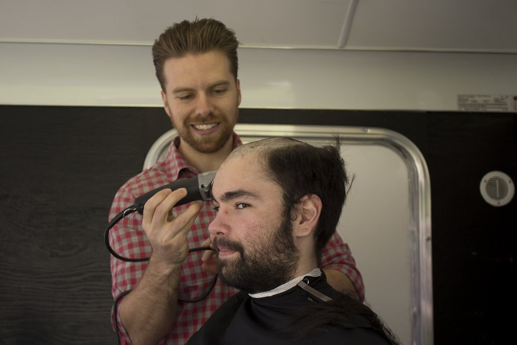 Kelowna Hair Salon - Plan B supports cuts for a cure - guy mid shave