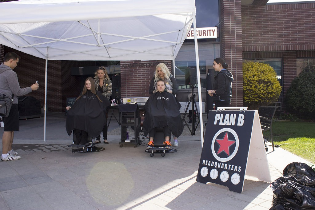 Kelowna Hair Salon - Plan B supports cuts for a cure - our stylists at work