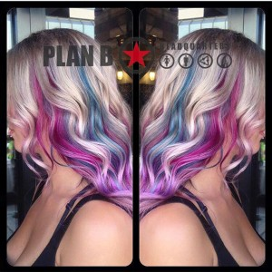 Vibrant colour ombre on blonde by Kristina at Plan B Kelowna Hair Salon