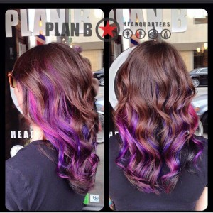Vibrant colour ombre on brunette by Kristina at Plan B Kelowna Hair Salon