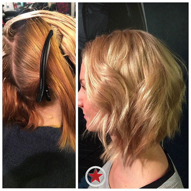 Curly bob hair cut by Jess at Kelowna Hair Salon Plan B