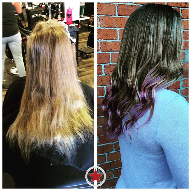 Pastel dip dye hair colour by Jess at Kelowna Hair Salon Plan B