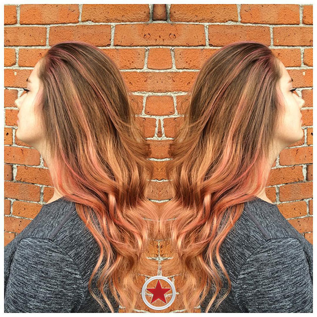 Rosegold balayage hair colour by Jess at Kelowna Hair Salon Plan B