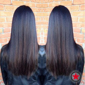 Sleek straight long hair cut and rich colour by Courtney M at Kelowna Hair Salon Plan B