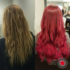 Before and after bright red hair transformation by Chelsey at Kelowna Hair Salon Plan B
