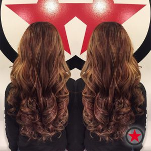 Gorgeous long curly hair cut and style by Brigette at Kelowna Hair Salon Plan B