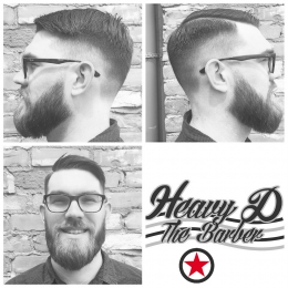 Fade haircut and beard trim by Heavy D the Barber at Kelowna Hair Salon & Barbershop Plan B
