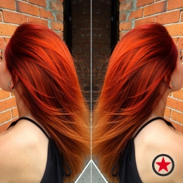 Fiery red hair colour by Jess at Kelowna Hair Salon Plan B