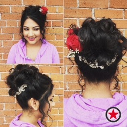 Updo hairstyle by Jess at Kelowna Hair Salon Plan B