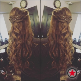 Plan B Kelowna hair salon | half updo and curls by Terri