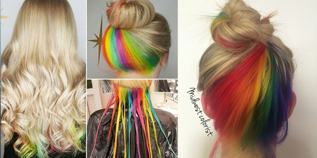Kelowna Hair Salon | Plan B | Hidden rainbow haircolour